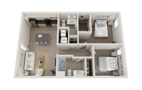 Floor Plan  Accento Floor Plan, 2-Bed 2-Bath, 859 SQFT.