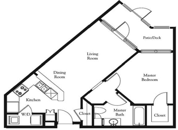 Floor Plan  1 bed 1 bath floor plan Sundance