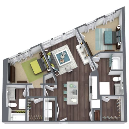Floor Plan  B1, 2-Bed 2-Bath Floor Plan, 1,028 SQFT