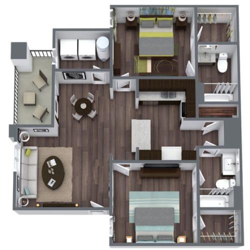 Floor Plan  Symmetry (B1) Floor Plan, 2-Bed 2-Bath, 1,068 SQFT