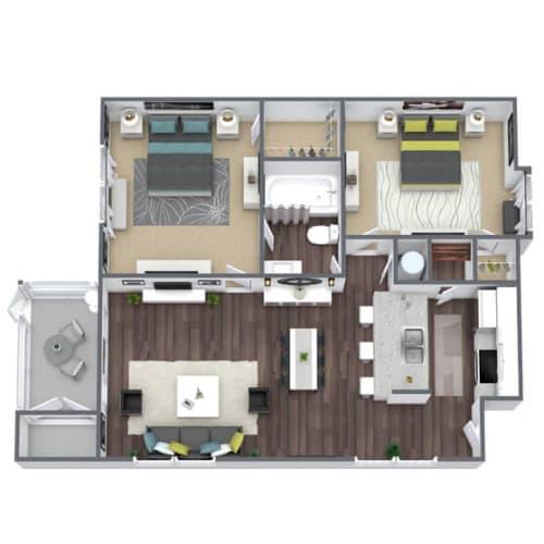 Floor Plan  B1 Floor Plan, 2-Bed, 1-Bath, 805 SQFT.