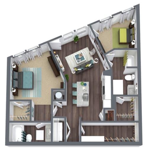 Floor Plan  B1 Terrace, 2-Bed 2-Bath Floor Plan, 1,244 SQFT