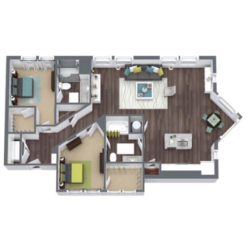 Floor Plan  B2, 2-Bed 2-Bath Floor Plan, 1,394 SQFT