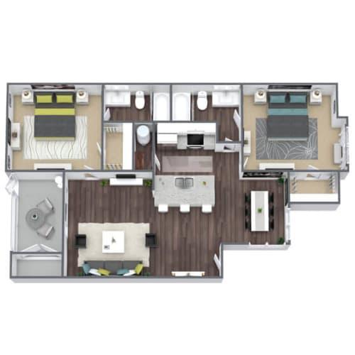 Floor Plan  B2 Floor Plan, 2-Bed, 2-Bath, 962 SQFT.