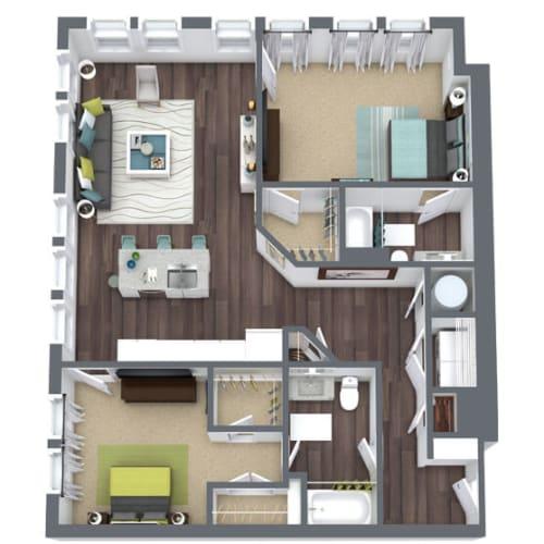 Floor Plan  B3-Corner, 2-Bed 2-Bath Floor Plan, 1,2692 SQFT