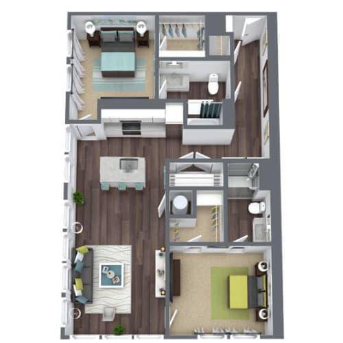 Floor Plan  B3, 2-Bed 2-Bath Floor Plan, 1,265 SQFT
