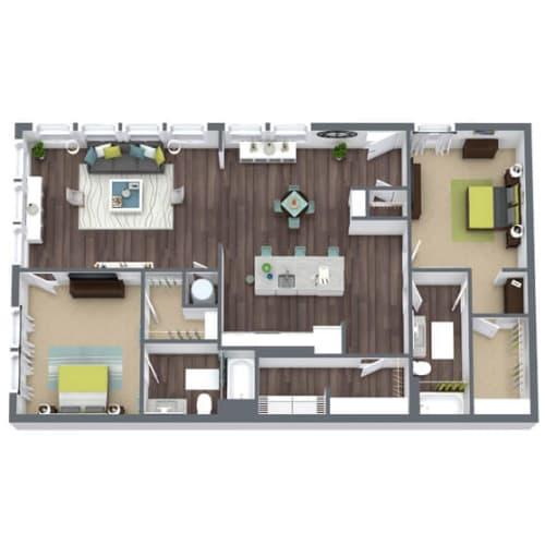 Floor Plan  B3-Terrace, 2-Bed 2-Bath Floor Plan, 1,428 SQFT