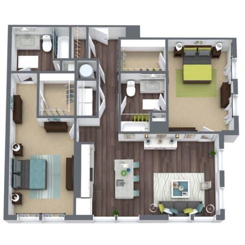 Floor Plan  B4 Alt, 2-Bed 2-Bath Floor Plan, 1,247 SQFT