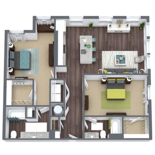 Floor Plan  B4 Corner, 2-Bed 2-Bath Floor Plan, 1,257 SQFT