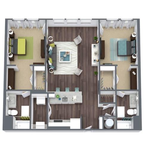 Floor Plan  B4, 2-Bed 2-Bath Floor Plan, 1,287 SQFT