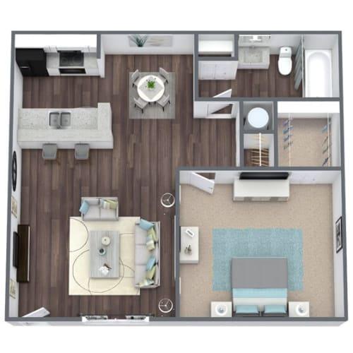 Floor Plan  Egret 1x1 3D Floor Plan