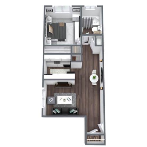 Floor Plan  Bristol Floor Plan 1-Bed 1-Bath 600SQFT