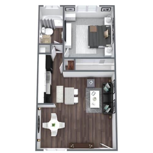 Floor Plan  Broadmoor Floor Plan 1-Bed, 1-Bath 500SQFT