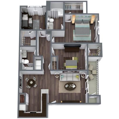 Floor Plan  Tranquility (C1) Floor Plan, 3-Bed 2-Bath, 1,261 SQFT