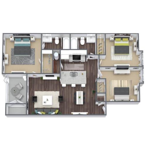 Floor Plan  B2 Floor Plan, 3-Bed, 2-Bath, 1,008 SQFT.