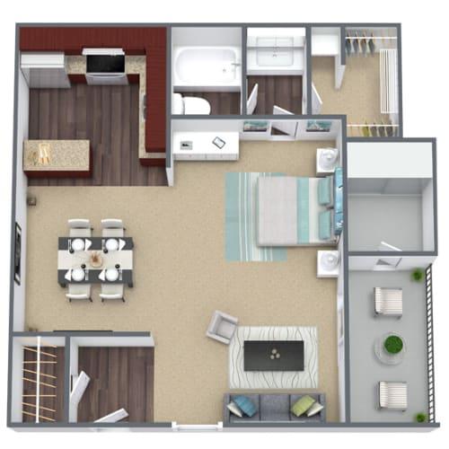 Floor Plan  Cedar Floor Plan Studio, 1.5-Bath, 648 SQFT