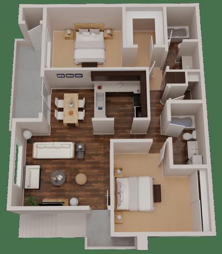 Floor Plan  2 Bedroom 2 Bathroom 3D Floor Plan both bathrooms have tubs