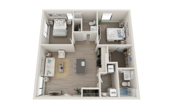 Floor Plan  Grandioso Floor Plan, 2-Bed 2-Bath, 870 SQFT.