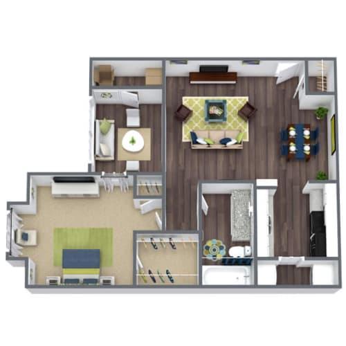 Floor Plan  1 bedroom 1 bathroom 3D Floor Plan Harrington