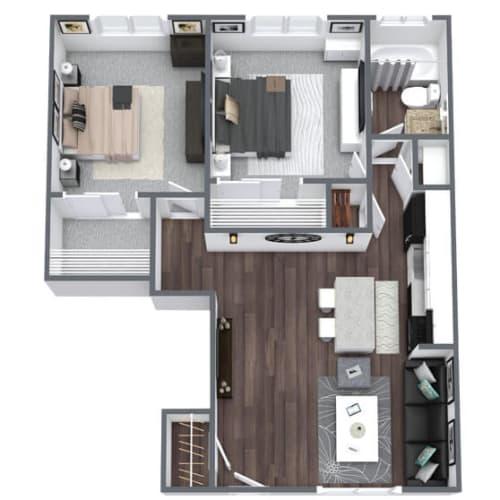 Floor Plan  Imperial Floor Plan 2-Bed, 1-Bath 650SQFT