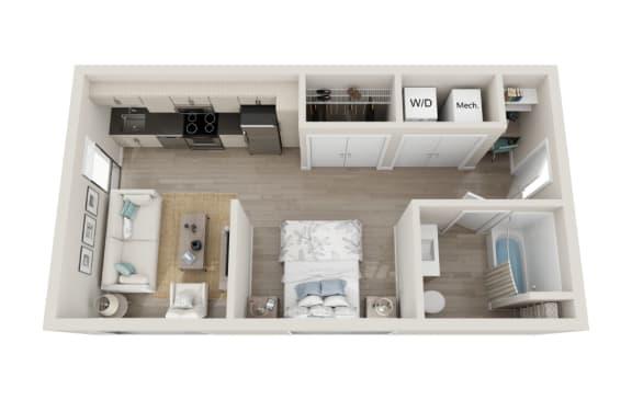 Floor Plan  Legato Floor Plan, Studio 1-Bath, 467 SQFT.