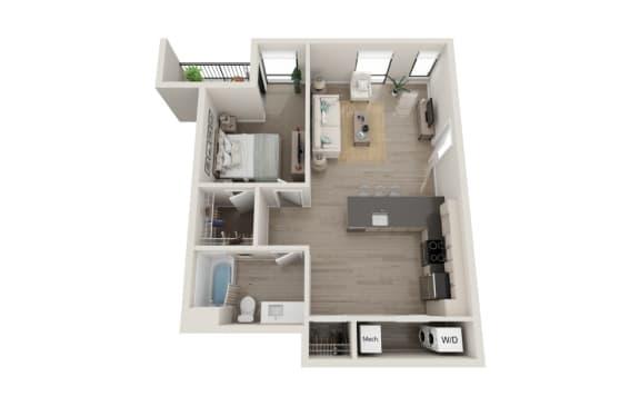 Floor Plan  Mezzo Floor Plan, 1-Bed 1-Bath, 749 SQFT.