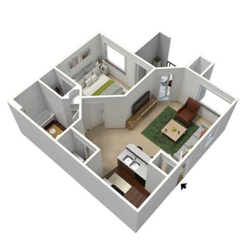 Floor Plan  Mojave Floor Plan, 1-Bed 1-Bath
