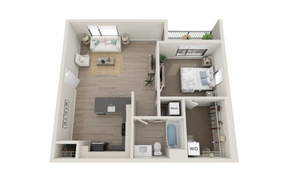 Floor Plan  Molto Floor Plan, 1-Bed 1-Bath, 721 SQFT.