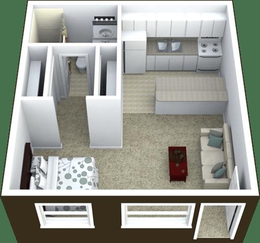 Floor Plan  Studio Floor Plan 440 SQFT.