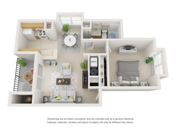 Floor Plan  1 bed 1 bath floor plan.
