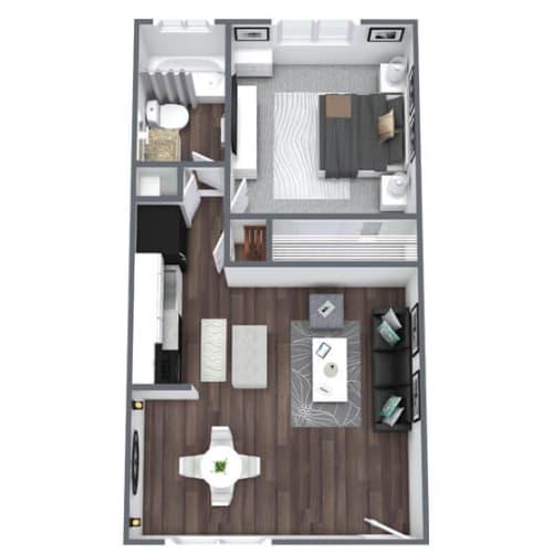 Floor Plan  Regency Floor Plan 1-Bed, 1-Bath 450SQFT