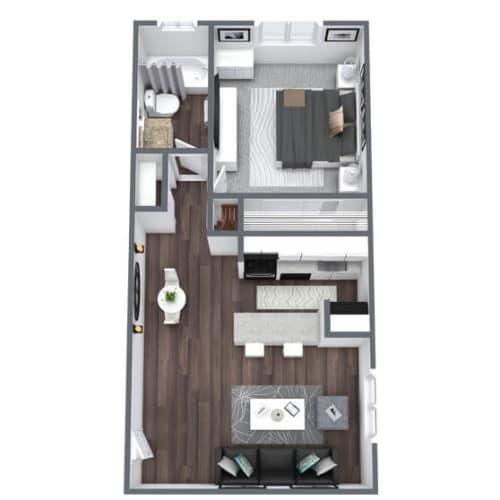 Floor Plan  Ritz Floor Plan 1-Bed, 1-Bath 600SQFT
