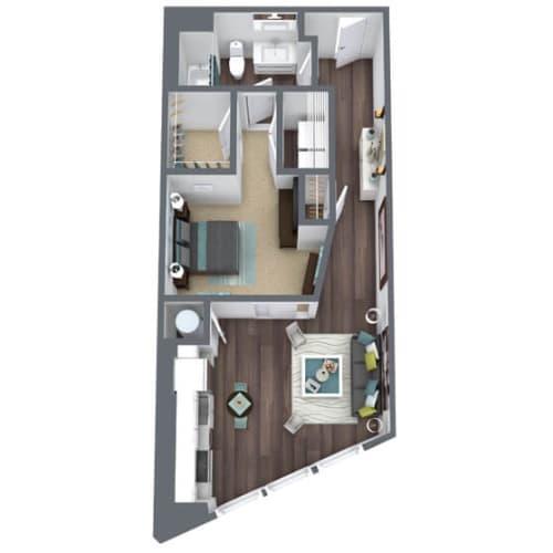 Floor Plan  S1-A, 1-Bed 1-Bath Floor Plan, 715 SQFT