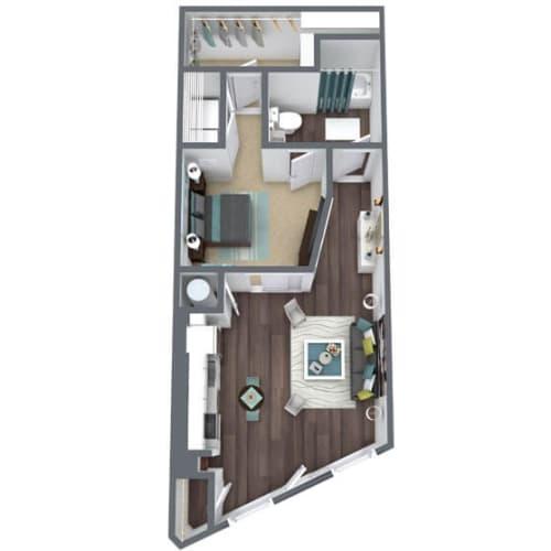 Floor Plan  S1-B, 1-Bed 1-Bath Floor Plan, 825 SQFT
