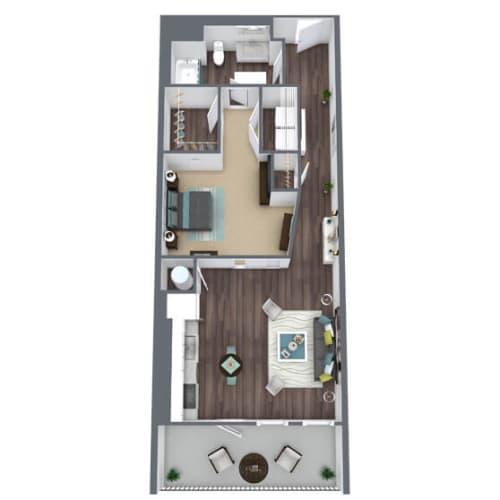 Floor Plan  S1-C, 1-Bed 1-Bath Floor Plan, 742 SQFT