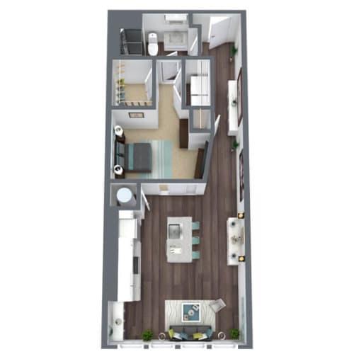 Floor Plan  S1-D, 1-Bed 1-Bath Floor Plan, 849 SQFT