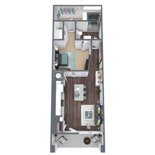 Floor Plan  S1-E, 1-Bed 1-Bath Floor Plan, 845 SQFT