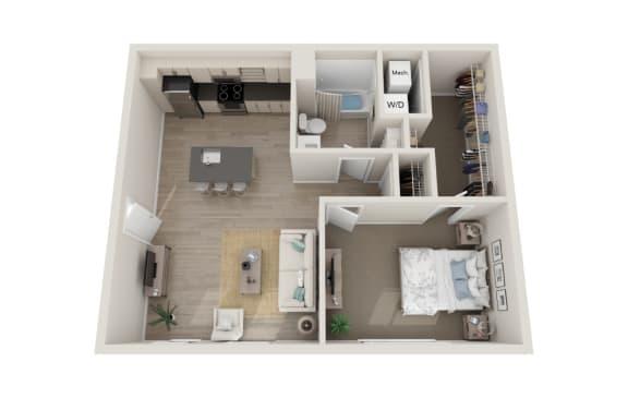 Floor Plan  Stretto Floor Plan, 1-Bed 1-Bath, 703 SQFT.
