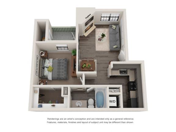 Floor Plan  A1 -1 Bedroom 3D Floor Plan