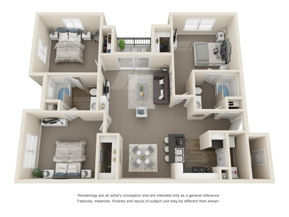Floor Plan  The Birch 3 Bedroom 2 Bath 3D Floorplan