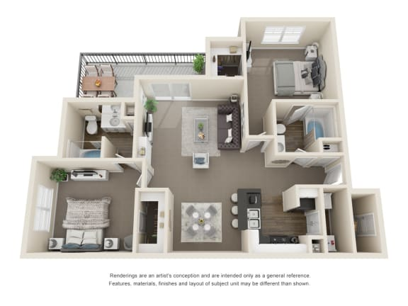 Floor Plan  The Elm 2 Bedroom 2 Bath 3D Floorplan