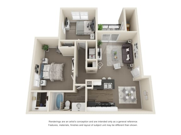 Floor Plan  The Maple 2 Bedroom 1 Bath 3D Floorplan