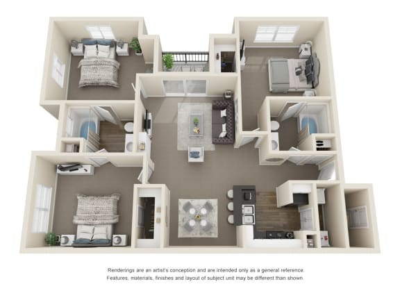 Floor Plan  The Oak 2 Bedroom 2 Bath 3D Floorplan