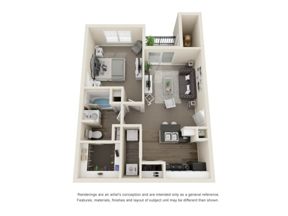 Floor Plan  The Pine  1 Bedroom 3D Floor Plan