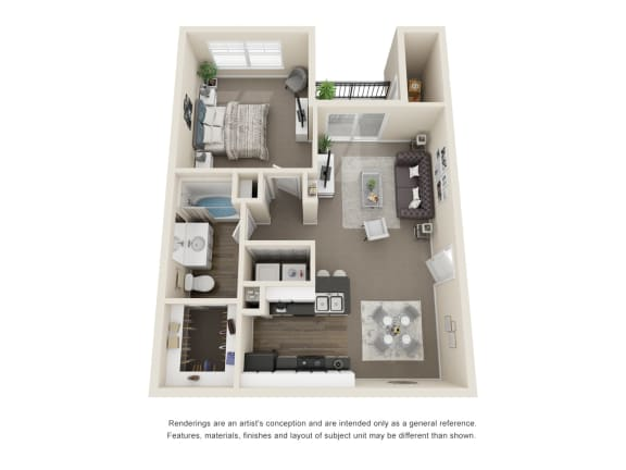 Floor Plan  The Spruce 1 Bedroom 3D Floorplan