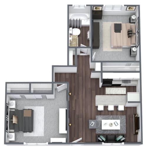Floor Plan  Ventana Floor Plan 2-Bed, 1-Bath 800SQFT