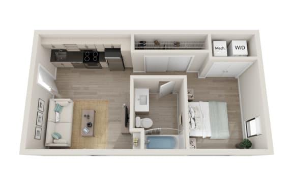 Floor Plan  Vibrato Floor Plan, Studio 1-Bath, 497 SQFT.