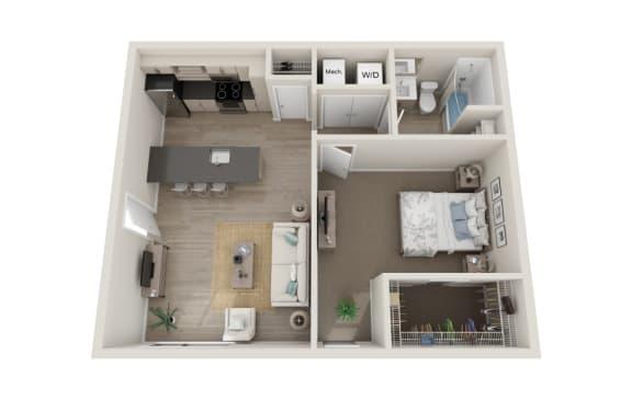 Floor Plan  Vivo Floor Plan, 1-Bed 1-Bath, 700 SQFT.