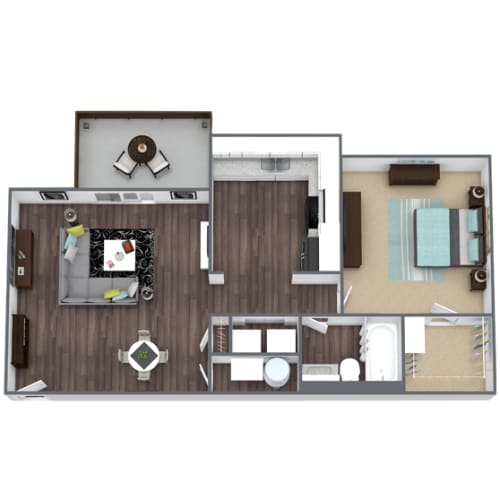 Floor Plan  Willow 1-Bed 1-Bath 674 SQFT