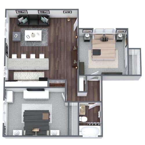 Floor Plan  Windsor Floor Plan 2-Bed, 1-Bath 950SQFT